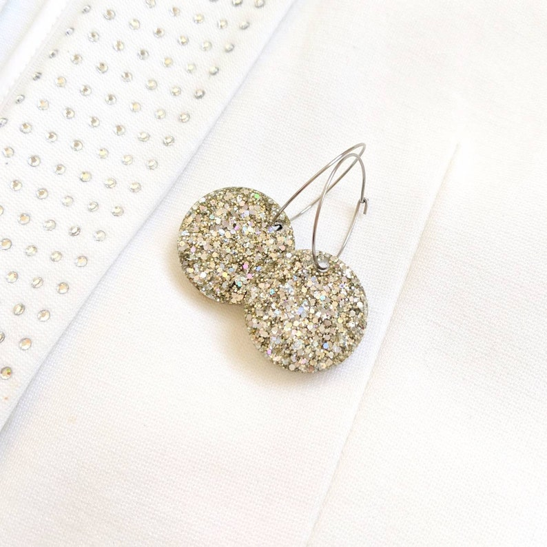 Silver glitter dangles champagne earrings silver and champagne image 0