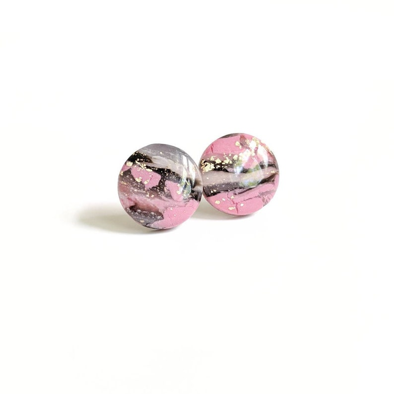 Pink and black faux stone marble earrings nickel free earrings image 0