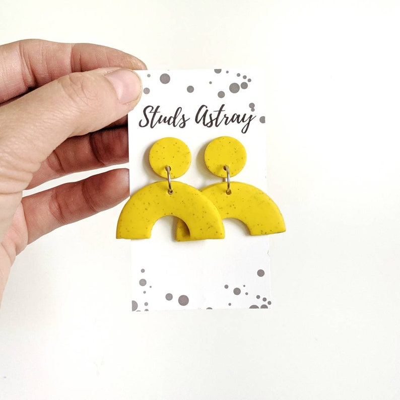 Mustard Yellow Arch earrings Clay arch earrings autumn image 0