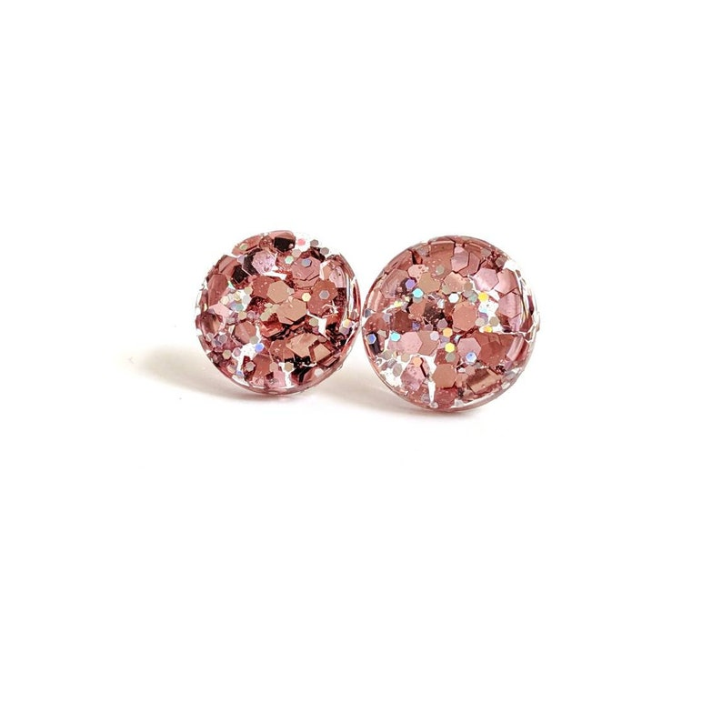Rose Gold glitter studs champagne earrings pink champagne image 0