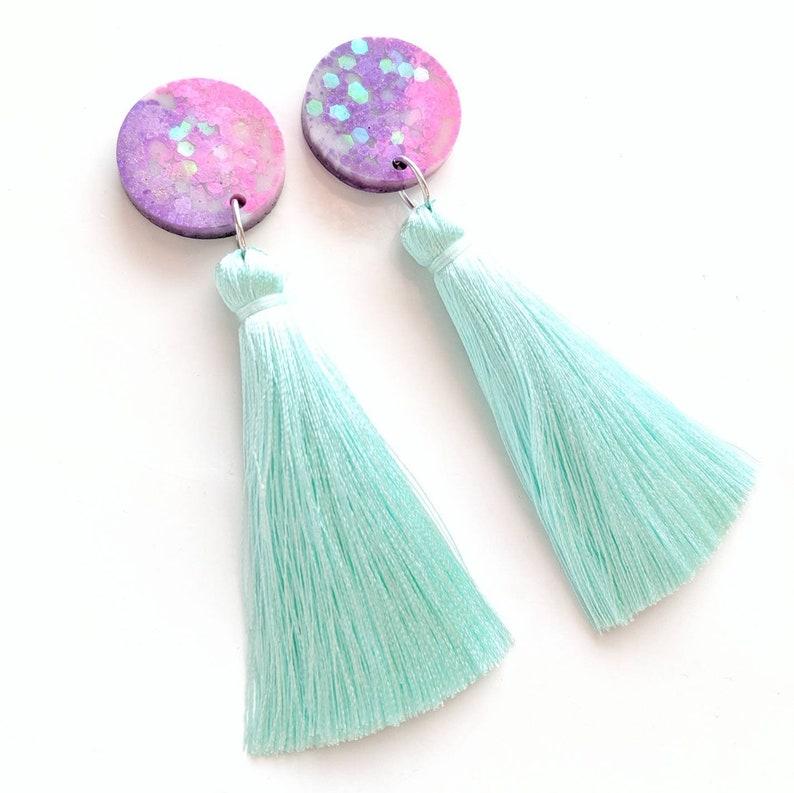 Big mermaid tassel earrings pink glitter earrings nickel free image 0