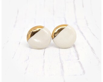 Porcelain earrings white and gold studs white and gold earrings gold studs wife gift jewelry gift nickel free earrings porcelain stud