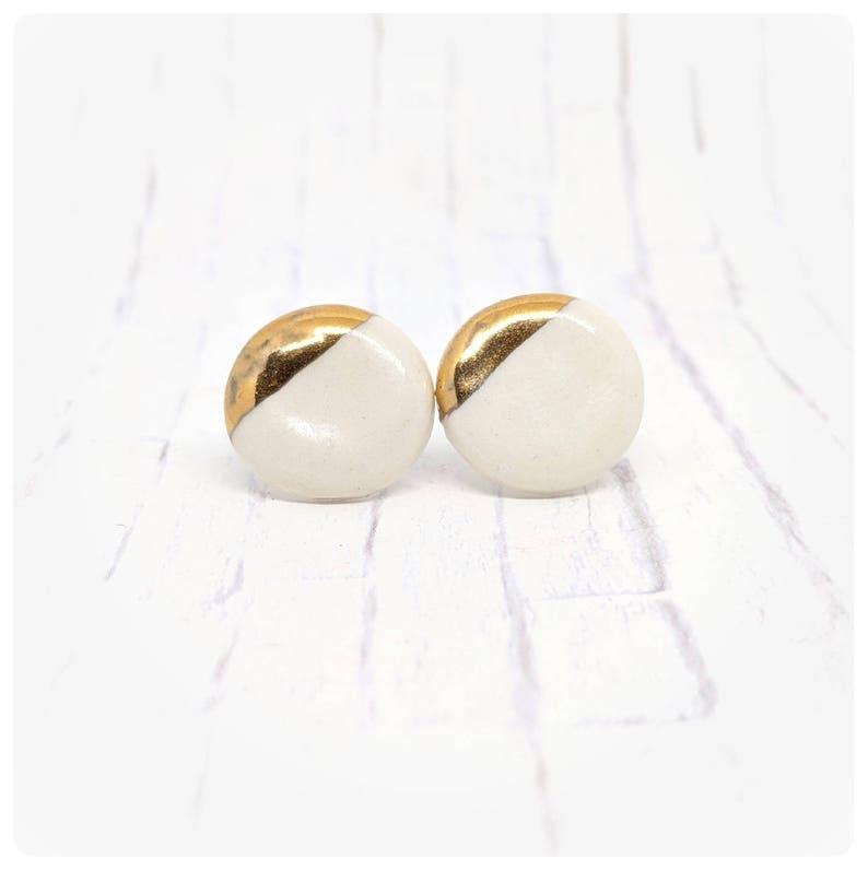 Porcelain earrings white ceramic studs white and gold earrings image 0