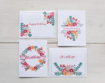 Floral Happy Birthday Card Set - Set of 8