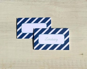Place Cards, Tent Cards | Nautical Stripe - Set of 12