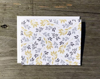 Note Card Set | Grey & Yellow Floral - Set of 8