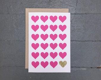 Glitter Heart Card - Set of 8