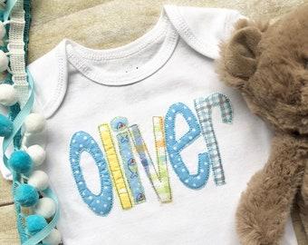 Disnosaur Baby Shower Blue Burp Clothes Appliqued,For Boy Baby Shower Gift Embroidered Orange Bodysuit Monogrammed Personalized Boy