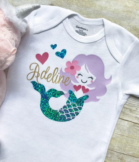 3473d9202 Mermaid Onesie Newborn Onesie Personalized Baby Onesie Baby