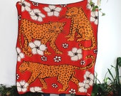 Leopards in Flower Patch - Red and Gold Blanket with Leopard Print and Floral Design - Knit Blanket - Boho Home Decor - Colorful Livingroom