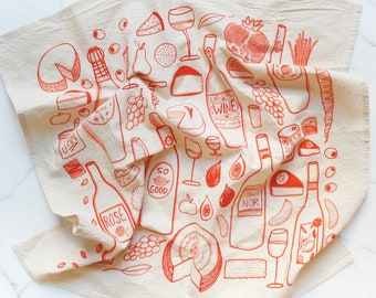 Wine & Cheese Tea Towel in Rosé - Foodie Design - Flower Kitchen Decor -  Housewarming Gift - Gifts for Host - Stocking Stuffer