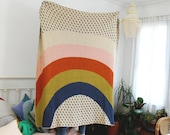 Back-Ordered - Rainbow and Raindrops Knit Throw Blanket - Love Wins Pride Decor - Kids Bedroom - Colorful Living Room Blanket - Housewarming