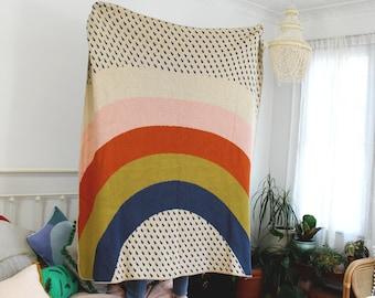 Rainbow and Raindrops Knit Throw Blanket - Love Wins Pride Decor - Kids Bedroom - Colorful Living Room Blanket - Housewarming