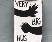 Very Big Hug — Black and White Cotton Throw Blanket — B&W Blankets - Send Hugs - Best Friend Birthday Gifts - Going Away Gift