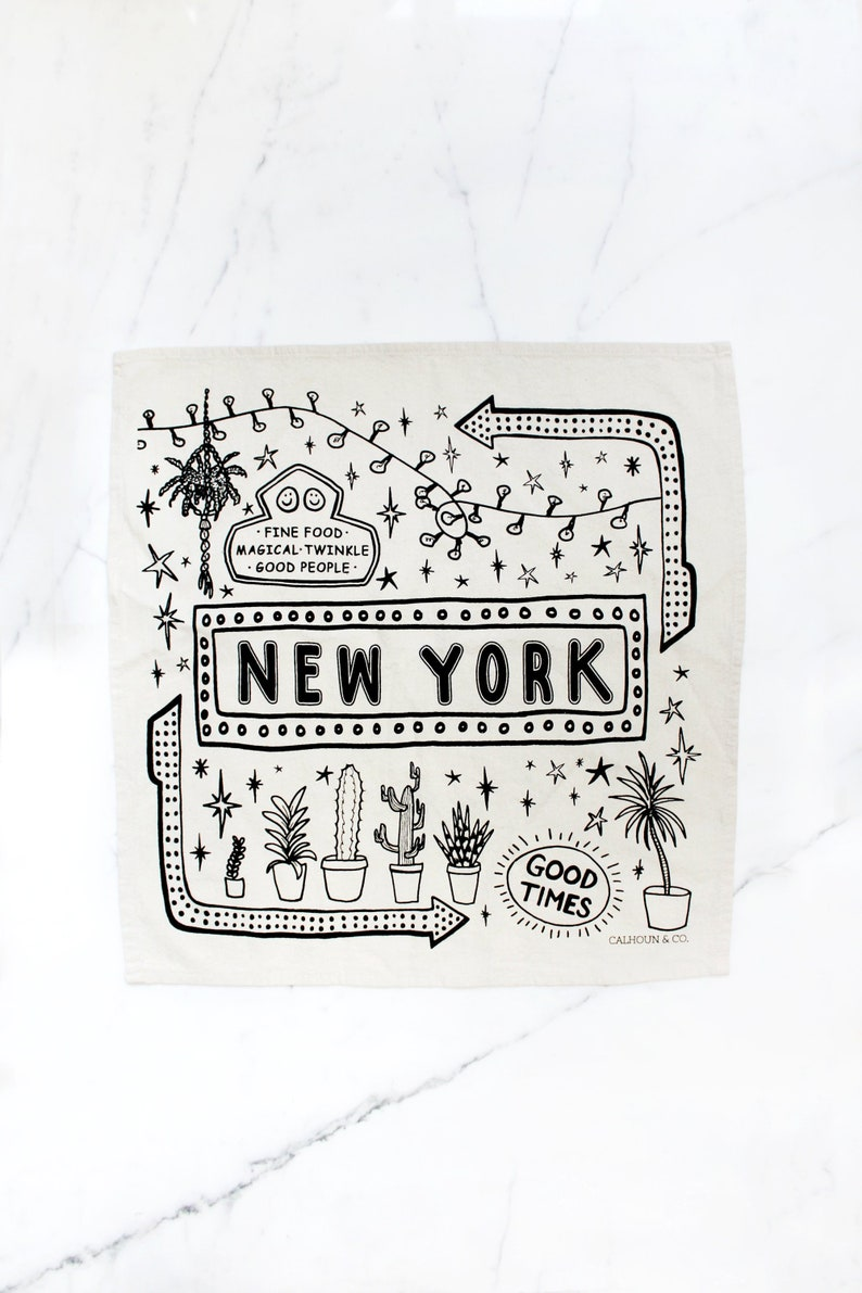 New York City Printed Tea Towel - Plants and Bright Lights - NYC Kitchen  Decor - Housewarming Gift - Gifts for Host - Stocking Stuffer