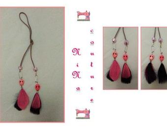 Earrings black/pink feathers