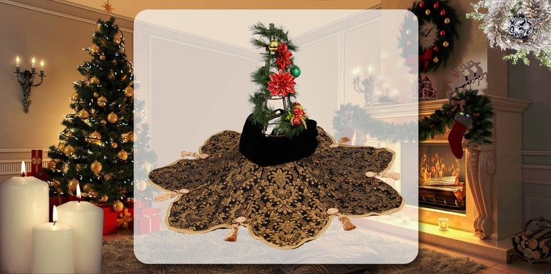 Black Tie  Gold With Tassels Gold Christmas Tree Skirt by Christmas Tree Essentials Signature Collection