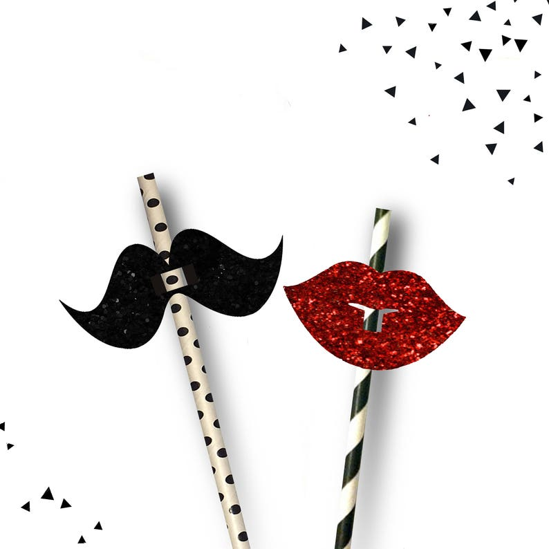 MOUSTACHE SILVER STRIPE PAPER DRINKING STRAWS Flag Party Wedding Straw Mustache