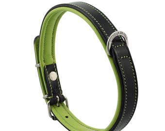 Premium Leather Green Padded Dog Collar For Medium Size Dogs Neck 14 to 16 Inches Slim Light Weight Design For Complete Canine Comfort!