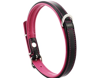 Premium Leather Pink Padded Dog Collar For Medium Size Dogs Neck 14 to 16 Inches Slim Light Weight Design For Complete Canine Comfort!