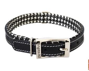 Classic Black Houndstooth Dog Collar