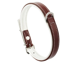 Premium Leather Brown Padded Dog Collar For Medium Size Dogs Neck 14 to 16 Inches Slim Light Weight Design For Complete Canine Comfort!