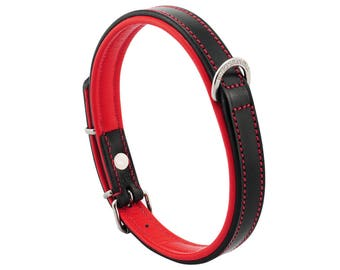 Premium Leather Red Padded Dog Collar For Medium Size Dogs Neck 14 to 16 Inches Slim Light Weight Design For Complete Canine Comfort!