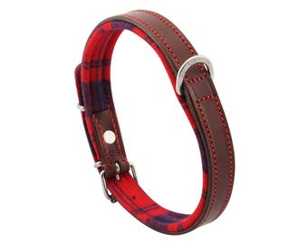 Premium Leather Red Tartan Padded Dog Collar For Medium Size Dogs Neck 14 to 16 Inches Slim Light Weight Design For Complete Canine Comfort!