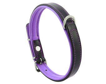 Premium Leather Purple Padded Dog Collar For Medium Size Dogs Neck 14 to 16 Inches Slim Light Weight Design For Complete Canine Comfort!
