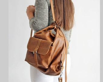 Backpack - Bag  2in1, Distressed Leather Brown backpack, Leather backpack, Woman backpack,  Ladies backpack, Brown Leather Rucksack