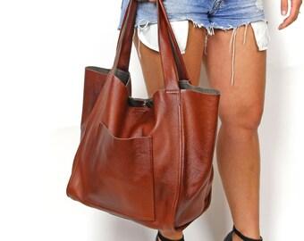 Cognac Brown large leather bag, Brown oversized bag, Everyday shopper bag, Large tote bag, Everyday handbag for women, Full Grain Leather