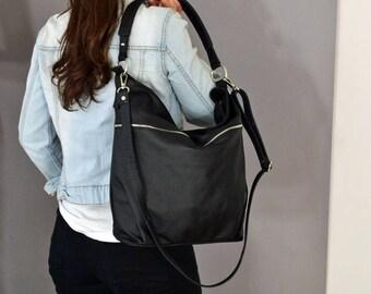 BLACK LEATHER HOBO Bag,  Crossbody Bag - Everyday Leather, Shoulder Bag,Slouchy leather hobo,Natural leather, sale -20%