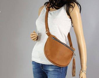 FANNY PACK, CAMEL bag, belt bag, fringe leather