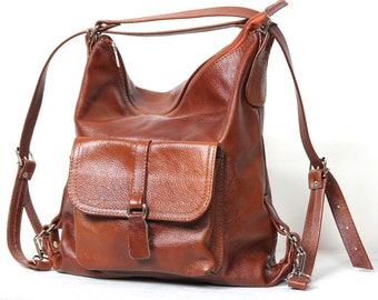 Convertible Backpack, Brown Backpack purse, bag & backpack, convertible leather bag, Convertible Leather backpack, Woman backpack
