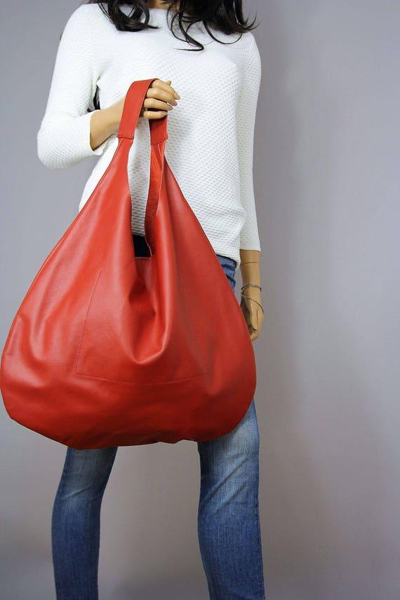 4b593b4102ba 30% sale Red LEATHER HOBO Bag Big hobo bag Large hobo bag