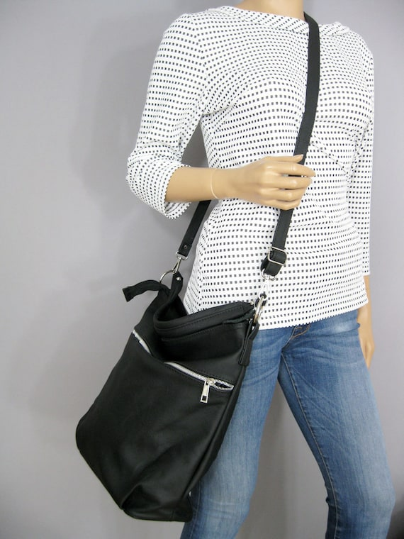 b1965b45cb BLACK LEATHER HOBO Bag Crossbody Bag Everyday Leather