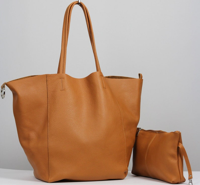 5c207952fe9 Oversize leather tote bag, Large bag 24