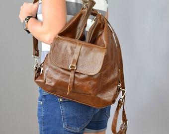 Leather Brown backpack, Leather backpack, Woman backpack, Small backpack,  Ladies backpack, Brown Leather Rucksack