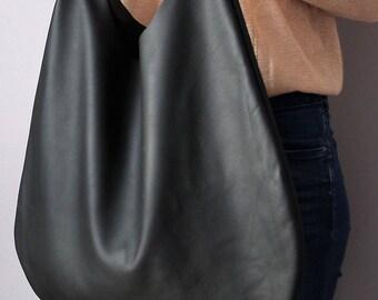 Women black bag, black leather hobo bag, Black Handbag for Women, Black Hobo for Women,  Soft Leather Bag, Every Day Bag, Women black bag