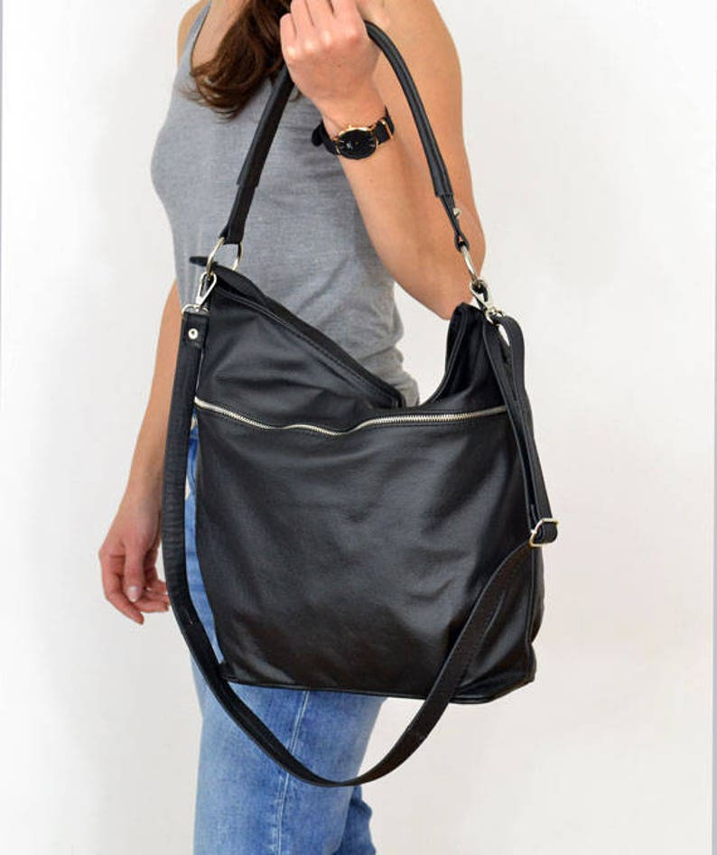 BLACK LEATHER HOBO Bag sale-20% Crossbody Bag Everyday  fa14e579805d3