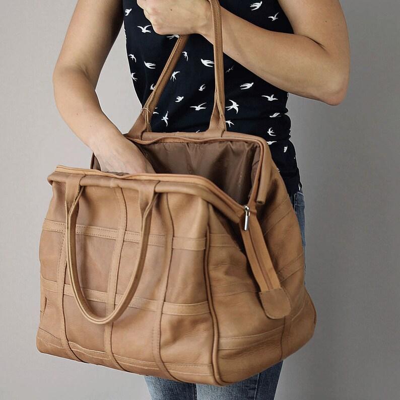 Brown Leather Duffel Bag Weekender Bag Leather Travel Bag image 0