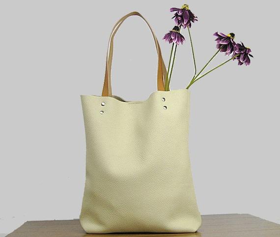 Leather Tote bag Cream leather tote bag Soft leather bag  20e1a25969ca2
