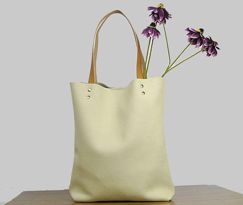 4fb84a3301 Leather Tote bag Cream leather tote bag Soft leather bag