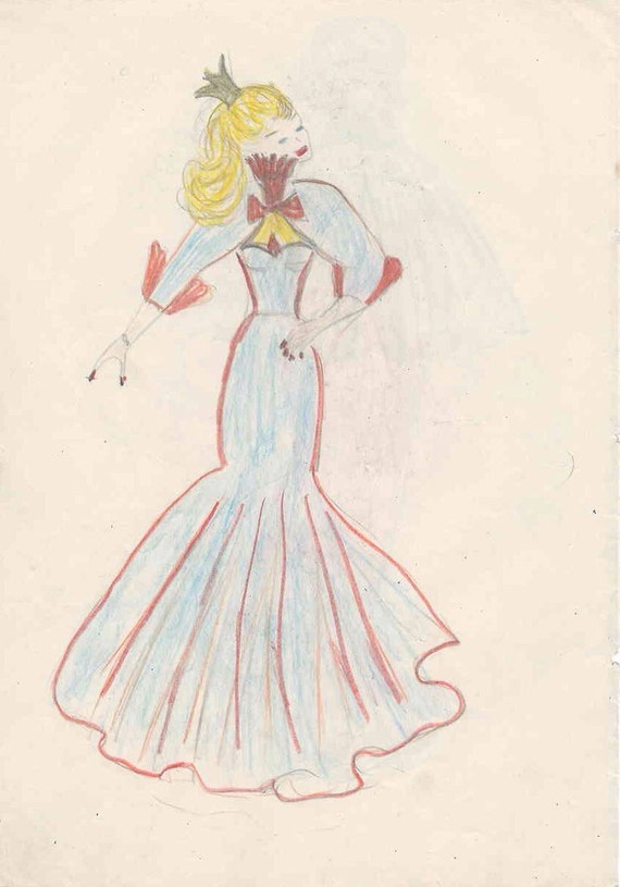 1953 Beautiful High Fashion Evening Wear Colored Pencil Etsy