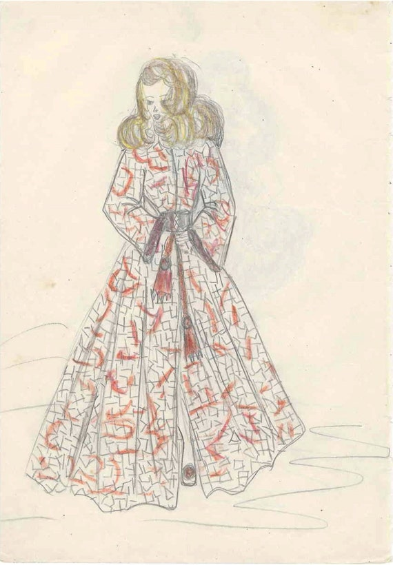 1953 Beautiful Winter Evening Wear High Fashion Colored Pencil Etsy