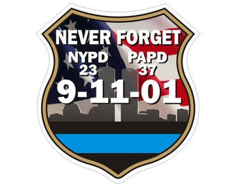 Thin Blue Line 9/11 Memorial Police Law Enforcement Decal / Sticker #127 Made in U.S.A.