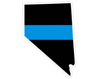 Nevada NV State Thin Blue Line Police Law Enforcement Decal / Sticker #194 Made in U.S.A.