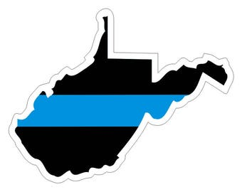 West Virginia WV State Thin Blue Line Police Law Enforcement Decal / Sticker #225 Made in U.S.A.