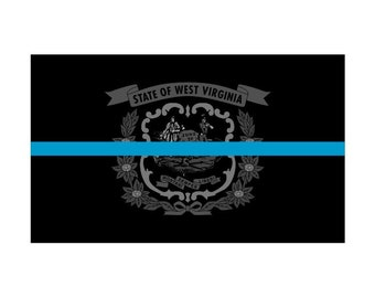 West Virginia WV State Flag Thin Blue Line Police Sticker / Decal #287 USA Made