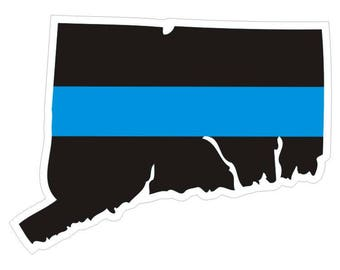 Connecticut CT State Thin Blue Line Police Law Enforcement Decal / Sticker #174 Made in U.S.A.